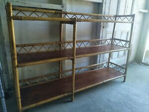 Vintage Retro Bamboo And Wood Bookshelves