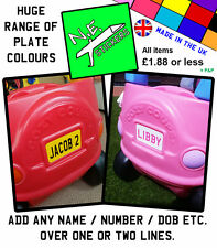 PERSONALISED BACK number Plate sticker for Little Tikes Cozy Coupe car kids ride