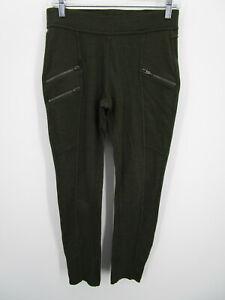 Athleta Women Green Stretch Rayon Active Zip Pockets Joggers Leggings Size Small