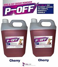 2 X 5L P-OFF PET URINE SMELL ODOUR REMOVER - WEE SMOKE FAECES POO - CHERRY