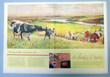 Original 1948 Chrysler Ad  John Clymer Art Series COW PASTURE OVERLOOKING FARM