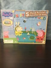 Peppa Pig 5 Wood Puzzles In Wooden Storage Box Educational Jigsaw Puzzle Set NEW