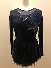 Ice skating dress Competition Custom Women Size S ,blue With Stone
