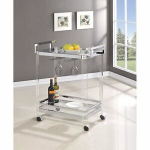 Stylish Metal Base Serving Cart With Glass Top, Clear