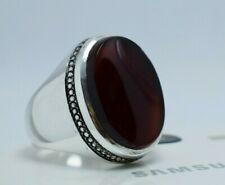 Natural Blood Red Aqeeq Bague Silver Rings Handmade Jewewllery Ring Mens Ring