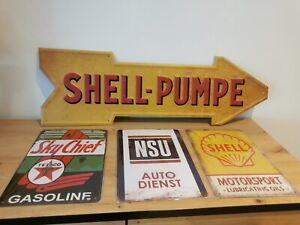 🔥 1 XL Shell Pumpe  3 x Schilder Gasoline Tankstelle Retro Schilder Oldtimer🔥