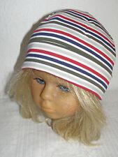 MAXIMO Topfmütze 53 57 Mütze Übergang Kindermütze UV 50+ beige rot blau gestreif