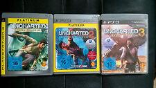 Sony PS3 Uncharted 1 2 3 Komplett Set deutsch USK16 Schatzjäger Drakes Schicksal
