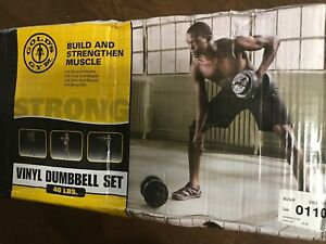 GOLDS GYM 40 LB Vinyl Dumbbell Set Weight Dumbbells Hand Weights Adjustable