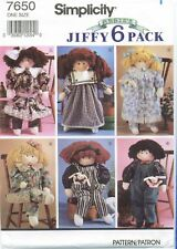 Simplicity 7650 Jiffy 6 Pack Stuffed DOLL Clothes sewing pattern UNCUT VTG