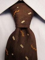 Men's VINTAGE Brown Silk Skinny Tie A26317