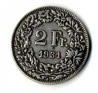 Moneda Suiza 1931 B 2 francos suizos plata .835 silver coin Helvetia