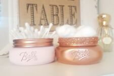 Painted Rose Gold Jar with glitter rim & pale pink jar with open rose gold lid