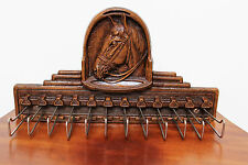 VINTAGE SYROCO WOODEN HORSE HEAD TIE RACK / SCARF HOLDER ~ WITH PAPER LABEL