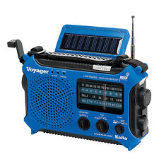 Voyager Hand Crank & Solar-Powered Emergency Radio: Blue