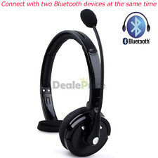Wireless Bluetooth Handsfree Mic Boom Headset Headphone Over Head For Trucker