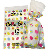 12 Easter  Cellophane Cello Party Bags With Twist Ties MINI EGG  DESIGN