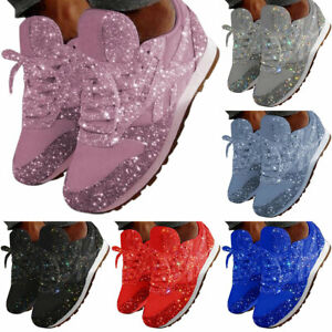 Women Sparkly Sequin Lace-Up Trainers Sport Shoes Casual Jogger Running Sneakers