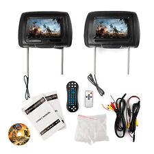 "2x 7"" HD Digital Car Headrest Monitor DVD Video Player HDMI Game USB TV IR SD"
