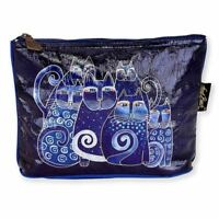 Laurel Burch 10x6 Large Foil Cosmetic Bag Indigo Cats Makeup Bag Black