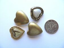 Assorted Vintage Solid Gold Metal Plastic Hearts Craft Collectibles Buttons-25mm