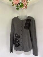 Women's Charter Club Gray Black Floral Sequin Embellished Cardigan SZ XL NWOT