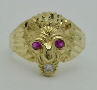 Real Solid 10K Yellow Gold Mens Red Eye Lion Head Ring 5.5 grams ALL SIZES