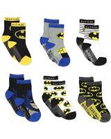 Batman Justice League Baby Toddler Boy's 6 Pack Athletic Crew Socks Kids 3T - 4T