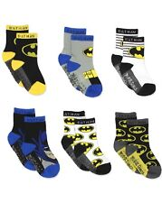 Batman Justice League Baby Toddler Boy's 6 Pack Athletic Crew Socks Kids 3T - 4T