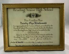 Vintage Reading High School Diploma 1942 Reading Pa Dorothy Klinikowski Framed