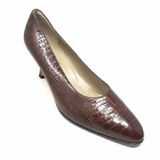 Women's Salvatore Ferragamo Pump Heels Shoes Sz 10 B Brown Croc Print Leather A6