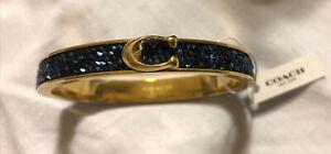 COACH Signature Push Hinged Bangle Bracelet Blue/Rose Gold ~NWT $98 MSRP
