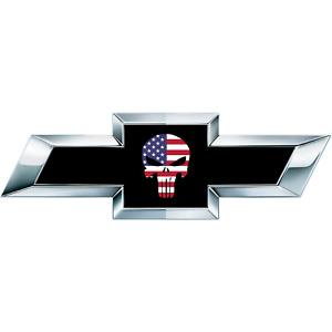 2 Skull American Flag US Universal Chevy Silverado Vinyl Sheets Emblem Overlay