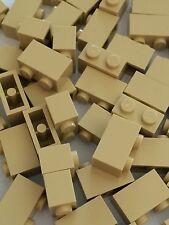 Lego New Bulk lot of 50 1x2 Tan Bricks Blocks 1 x 2