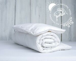 Anti-Allergy Merino Wool Duvet Pillow Nursery Junior Kids Baby Toddler Cotton