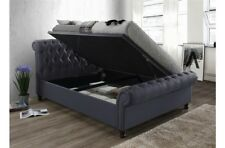6FT Luxury Charcoal Fabric Side Lift Button Sleigh Bed With Underbed Storage