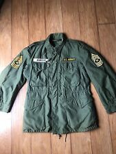 VTG Korean War U.S. Army Military Field Jacket Shell M-1951 Reg S 1951 Patched