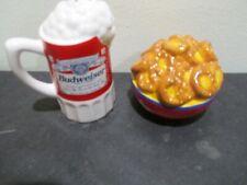 Enesco 1999 Budweiser salt pepper beer mug & pretzels.