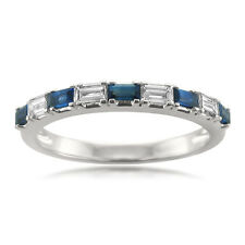 14k White Gold 0.50ct Baguette White Diamond and Blue Sapphire Wedding Band