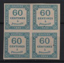 "FRANCE STAMP TIMBRE TAXE N° 9 "" CHIFFRE TAXE 60c BLEU BLOC DE 4 "" NEUF x TB R901"