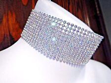AB RAINBOW CRYSTAL RHINESTONE COLLAR silver wide vinyl choker necklace band 1B