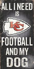 Kansas City Chiefs Football and Dog Wood Sign [NEW] NCAA Man Cave Den Wall