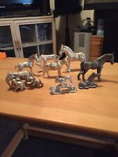 More details for vintage animal ornament heavy silver pewter donkeys,elephants horses & squirrels