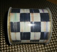 """MACKENZIE CHILDS COURTLY CHECK 4"""" WIRED RIBBON  BY THE YARD"""