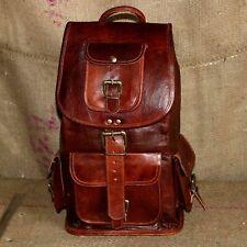 "Real Leather Backpack Travel 16"" Laptop Satchel Daypack Book School medium Bag"