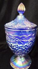 Carnival Glass Cobalt Blue Grape Pattern Sweetmeat Compote Imperial 1952 - 1970