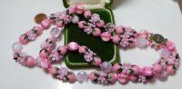 Vintage 1950's Pink Plastic Fruit Salad Flowers 2T Necklace Hong Kong 3c 35