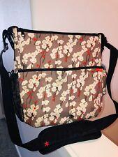 Skip Hop Messenger Diaper Bag Adj Strap Shoulder Cross Body Canvas Floral Gray