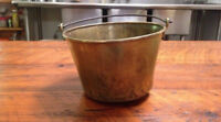 Antique 1851 Hiram Hayden Waterbury CT Spun Solid Brass Pail Apple Butter Kettle
