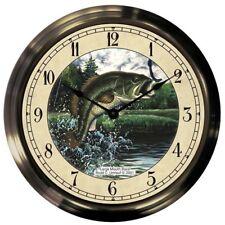 "Trintec 14"" Largemouth Bass Antique Brass Fishing Clock AB14-03-LMB"